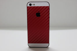 iPhone 5s Carbon Folie Weiß/Rot