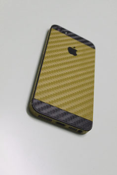 iPhone 5 Carbon Folie Schwarz/Gold