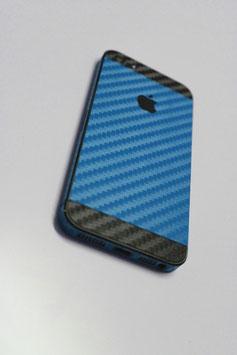 iPhone 5 Carbon Folie Schwarz/Mittel Blau