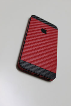 iPhone 5 Carbon Folie Schwarz/Rot
