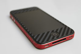iPhone 4 / 4s - Carbonfolie schwarz/rot