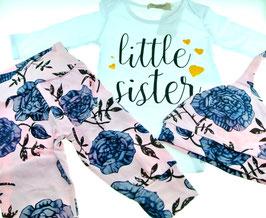 little sister Mädchen Set Hose Body und Mütze mit floralem Print rosa weiß Gr. 54-56