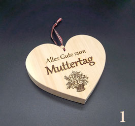 Geschenke zu Muttertag - Zirbenholz Herzen mit Spruch, Groß!