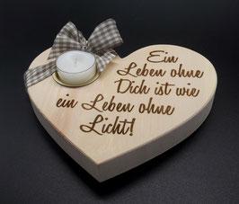 XXL Zirben Holz Herz mit Teelicht und Spruch