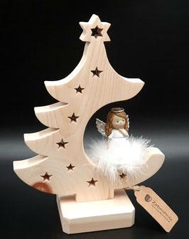 Weihnachtsbaum Zirbe mit Engel auf Wolke