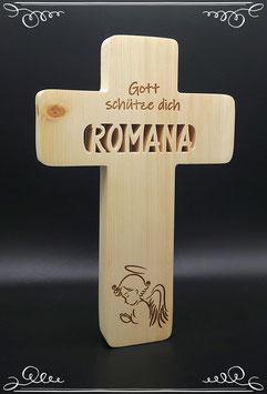 Kinderkreuz mit Namen nach Wunsch als Taufgeschenk