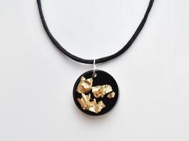 Resinanhänger Blattgold, schwarz, rund