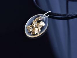 Schmuckanhänger Blattgold, oval, transparent