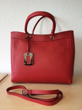 Henkel-Handtasche aus echtem Leder neuestes Model Korallrot