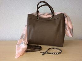 Henkel-Handtasche aus echtem Leder neuestes Model Nougat Braun