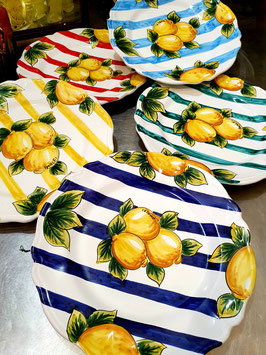 Hand Painted Vietri Ceramic dish with stripes and lemons 33 cm diameter