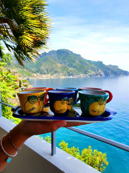 Espresso cup set in Amalfi Coast ceramic with Tray
