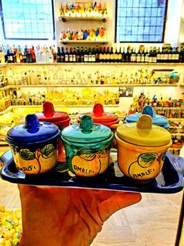Set tazzine da caffé in ceramica vietrese con vassoio e coperchi