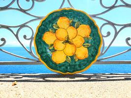 Piatto in Ceramica Vietrese dipinto a mano VERDE ACQUAMARINA