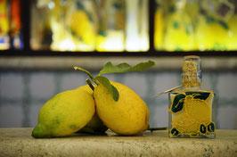 Cubo cc. 200 Crema Decorato a mano Limoni