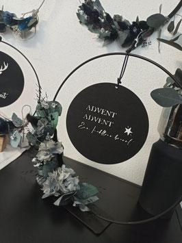 Holzscheibe Advent Advent