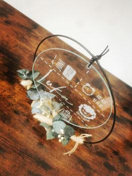 Glasscheibe mit Geburtsdaten (Gravur)