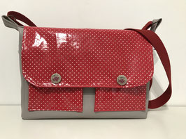 Sac besace rectangulaire pois rouge Lucie