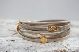 Wickelarmband Feder & Spiral gold Nr. 38