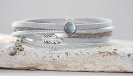 Wickelarmband Feder Silber-grau Nr. 34
