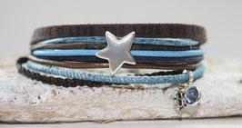 Lederarmband Stern blau-braun  Nr. 42