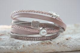 Wickelarmband Feder & Perle rosa-taupe Nr. 53