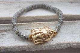 """Armband """"Buddha"""" grau-silber Nr. 75"""