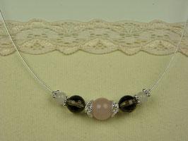 Silberdraht-Kette mit Rosenquarz und Rauchquarz