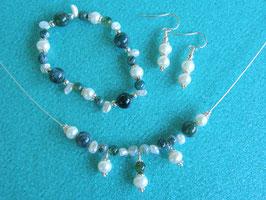 Schmuckset mit Perlen und Moosachat