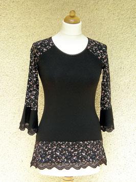 Raglan-Shirt schwarz mit Rosenmuster und Spitze