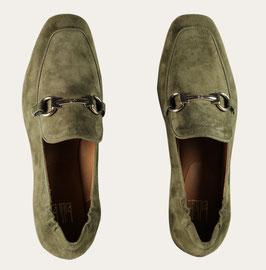 Billi Bi - Khaki leather loafer with gold