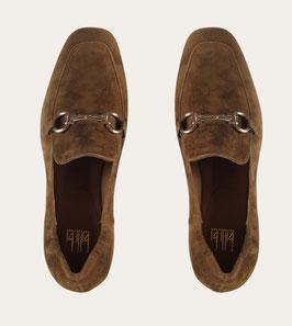 Billi Bi - Dark Cognac leather loafer with gold
