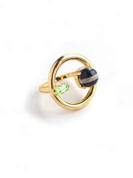 NOFI RING Gold×Blackwhite agate