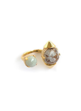 FIFS STUDS RING Gold CopperCalcite