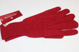100% Alpaka Handschuhe in rot mit Zopfmuster gr. L