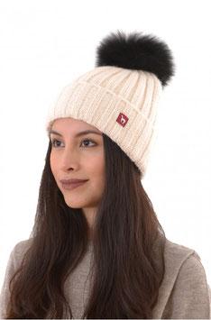 Tolle Alpaka Mütze mit Echthaar Bommel  in weiß