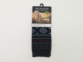 Premium Baby Alpaka Jacquard Socken, grau/hellblau/rot