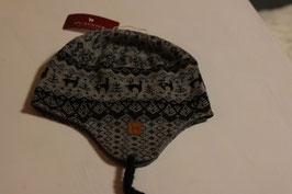 Tolle Inka Mütze in grau mit Alpaka Muster gr L