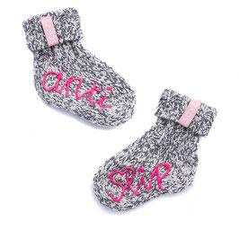 SOXS geitenwollen babysokjes met anti slip/baby pink