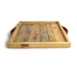 Dienblad vierkant sloophout met leer