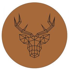 Label-R Muurcirkel rendierhoofd hazel bruin 30 cm