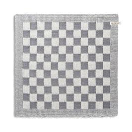 Knitfactory keukendoek Block ecru/Med grey