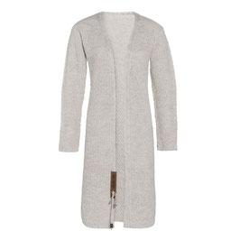 Knitfactory Luna lang gebreid vest beige