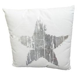 Kissen mit Füllung: weiß/silber Stern