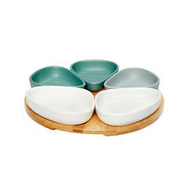 Tablett mit 5 Schalen aus Keramik