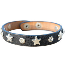 Armband schwarz mit Stern-Nieten