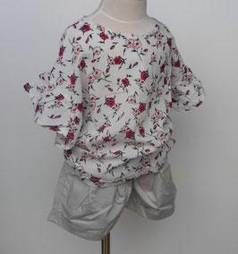 赤い花柄の布帛チュニック/HOWDY DOODYS