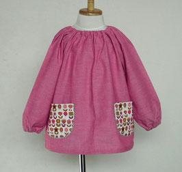 M1.ピンク系シャンブレー+お花畑ポケットのスモック