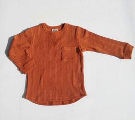 レンガ色のワッフルTシャツ/F.O.
