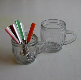 小さな取っ手付グラスカップ